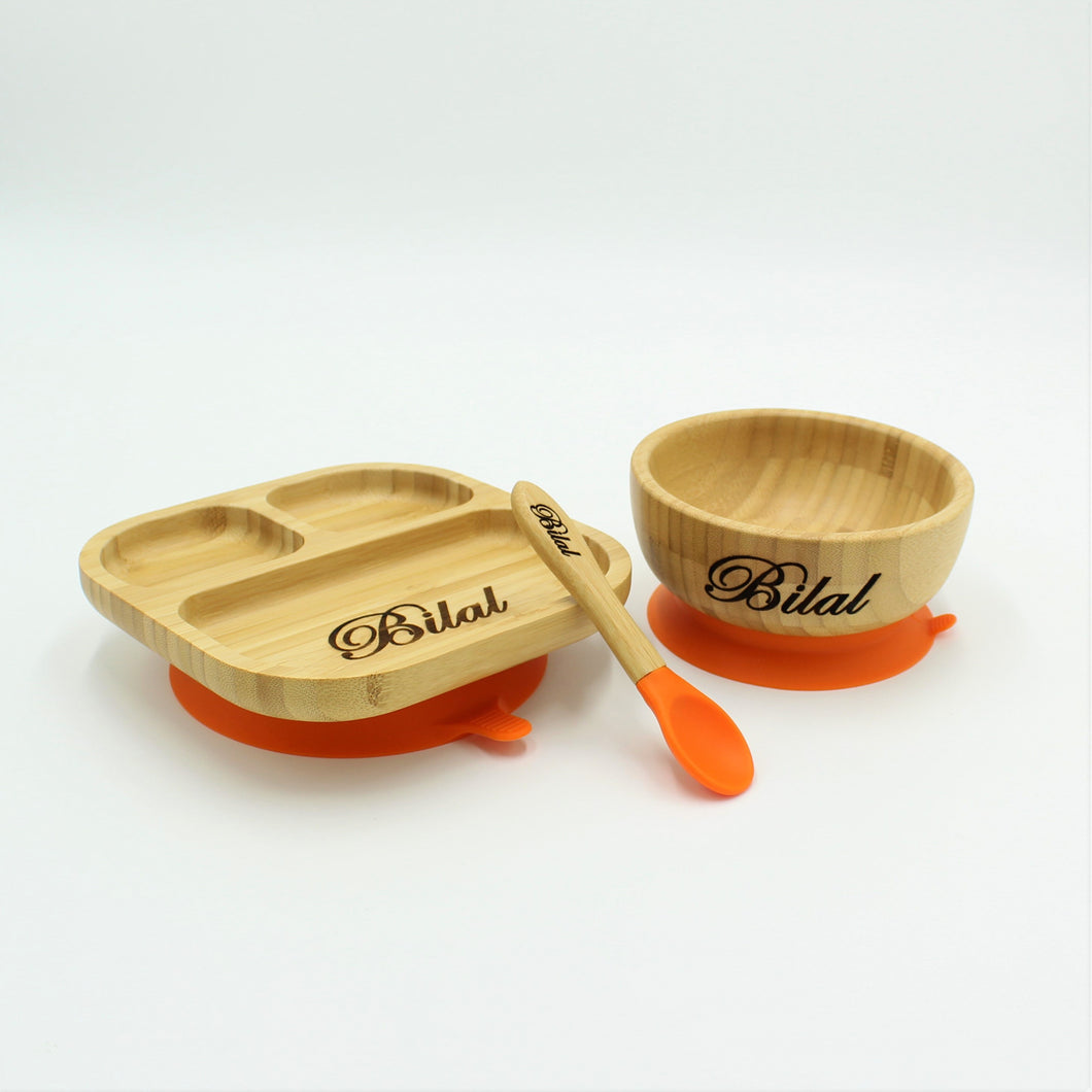 Bamboo Plate, Bowl, and Spoon Set- Orange - Babba box