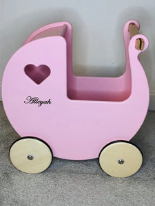 Personalised Wooden Moover Pram- Pink - Babba box