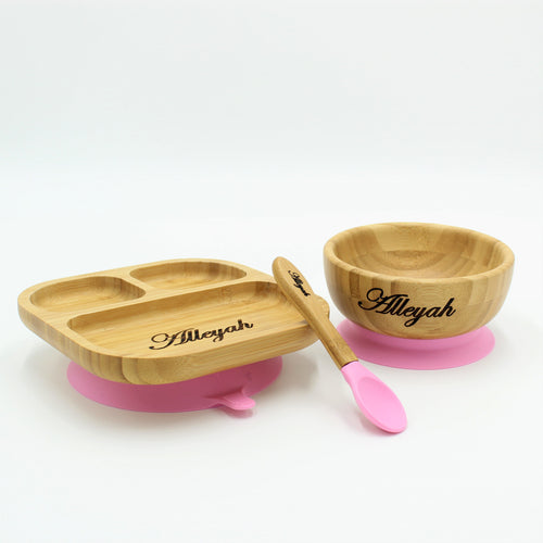 Bamboo Plate, Bowl, & Spoon Set- Pink - Babba box