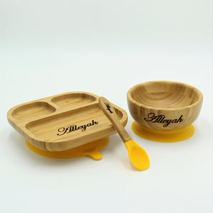 Bamboo Plate, Bowl, and Spoon set- Yellow