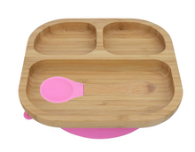 Load image into Gallery viewer, Bamboo plate with suction cupand spoon- Pink - Babba box