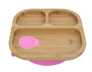 Bamboo plate with suction cupand spoon- Pink - Babba box