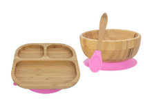 Load image into Gallery viewer, Bamboo Plate, Bowl, & Spoon Set- Pink - Babba box