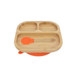 Bamboo Plate with suction cup and Spoon- Orange - Babba box