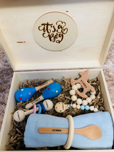 Prince & Princess 7: Personalised Wooden Keepsake Memory Box by Babba Box Co Royalty range - Babba box