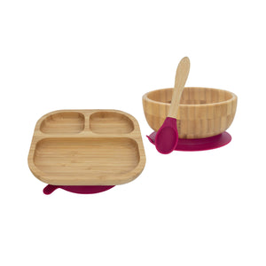 Bamboo Plate, Bowl, and Spoon Set- Majenta Red - Babba box