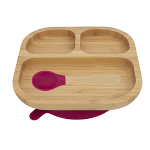 Bamboo Plate with suction and Spoon- Majenta Red - Babba box