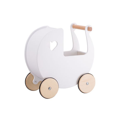 Personalised Wooden Moover Pram- White - Babba box