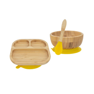 Bamboo Plate, Bowl, and Spoon set- Yellow - Babba box
