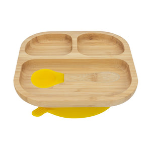 Bamboo Plate with Suction Cup and Spoon- Yellow - Babba box
