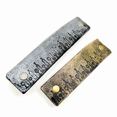 Wine Bottles Stamped Leather Barrette - Platypus Max