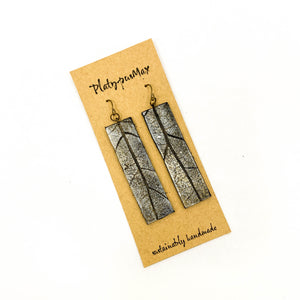 Silver and Gold Leather Oak Leaf Long Bar Earrings - Platypus Max