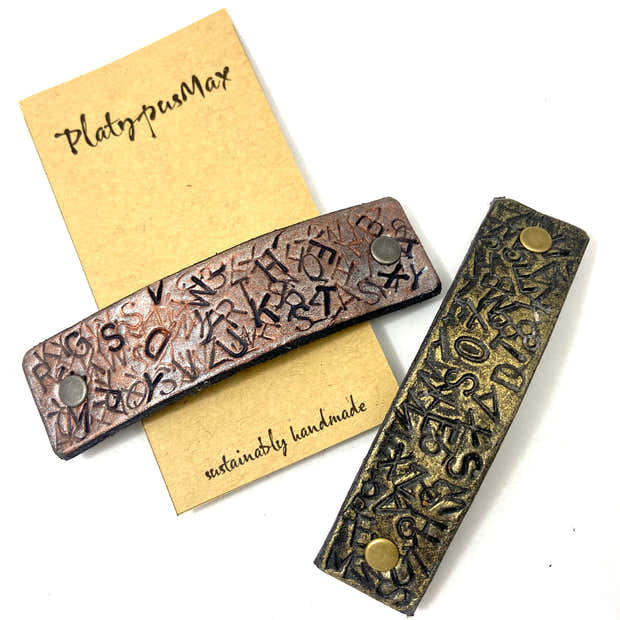 Stamped Letters Upcycled Leather Hair Clip - Gold / Copper / Silver / Blue 1