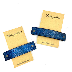 Brilliant Blue Lace Flower Leather Hair Barrette - Platypus Max