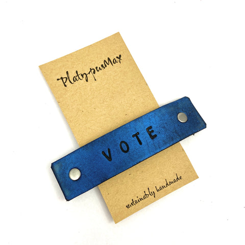 VOTE Stamped Leather Barrette