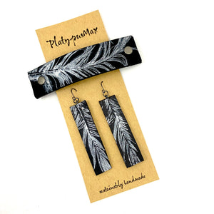 Silver Feather on Black Leather Barrette and Earring Gift Set - Platypus Max