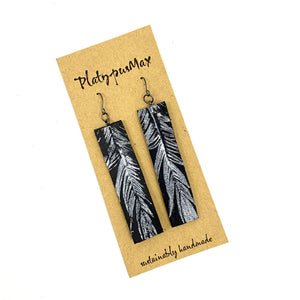 Silver Feather on Black Leather Long Bar Earrings - Platypus Max