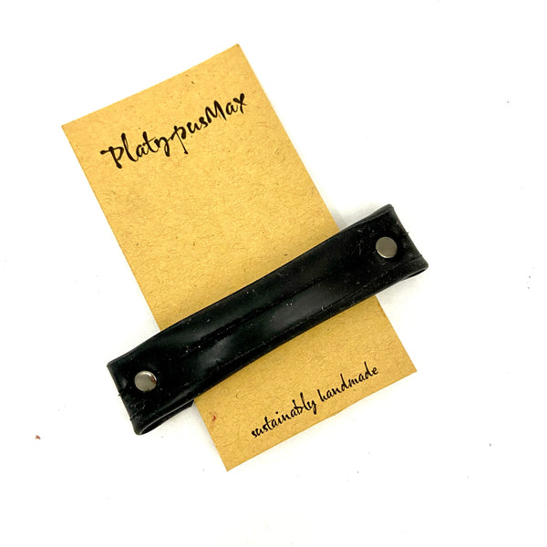 Upcycled Bicycle Tube Barrette in Basic Black - Platypus Max