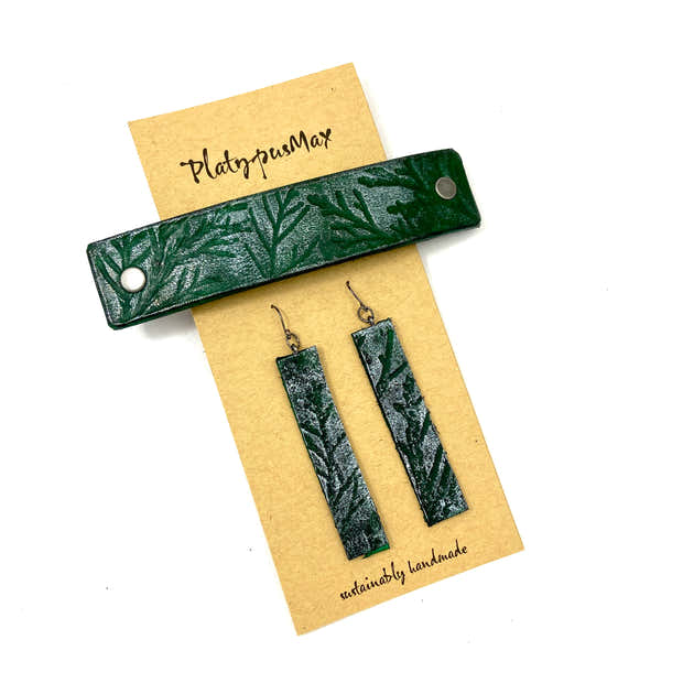 Green & Juniper Branches Barrette and Earring Gift Set 1