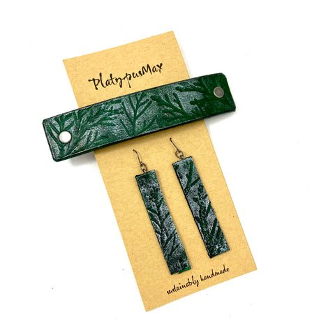 Green & Juniper Branches Barrette and Earring Gift Set - Platypus Max