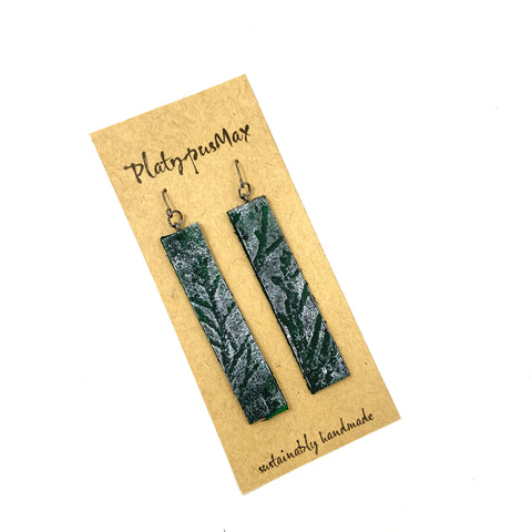 Forest Green Juniper Branches Leather Bar Earrings - Platypus Max