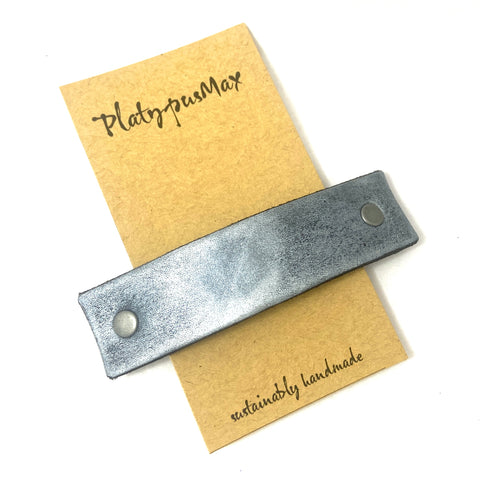 Metallic Silver Leather Eco Barrette - Platypus Max