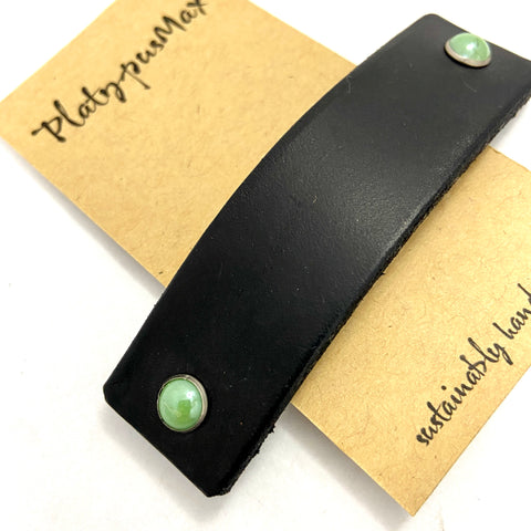 Black Leather Barrette with Brilliant Jade Green Studs