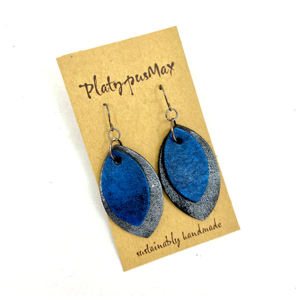 Rustic Modern Pointed Oval Drop Earrings in Dark Silver / Antique Gold / Cobalt Blue - Platypus Max