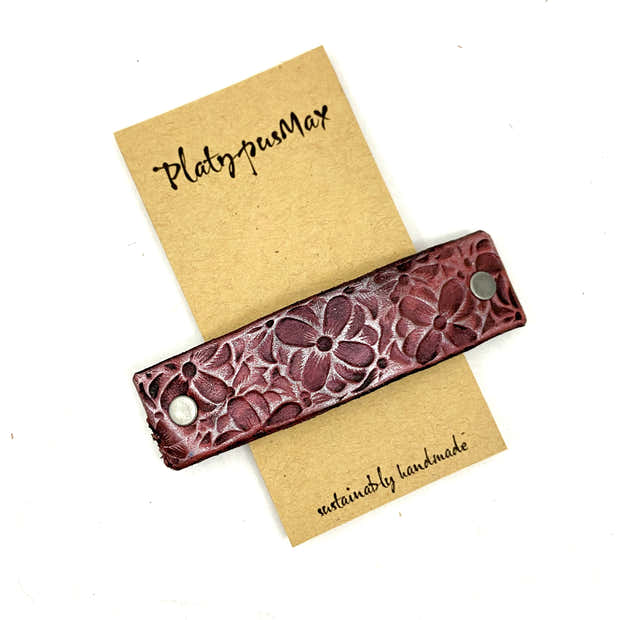 Silver Fuchsia / Pink Flowers Stamped Leather Hair Barrette 1