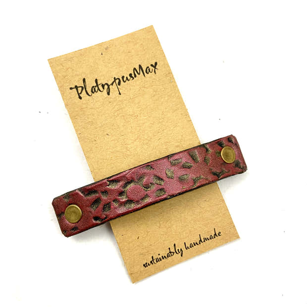 Candy Apple Red & Gold Starburst Stamped Leather Hair Barrette 1