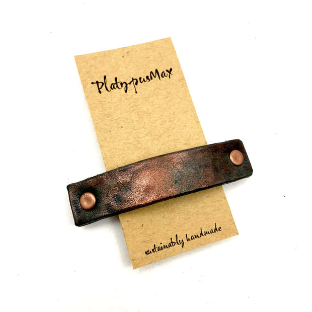 Hammered Antique Copper Leather Barrette - Rustic Texture 1