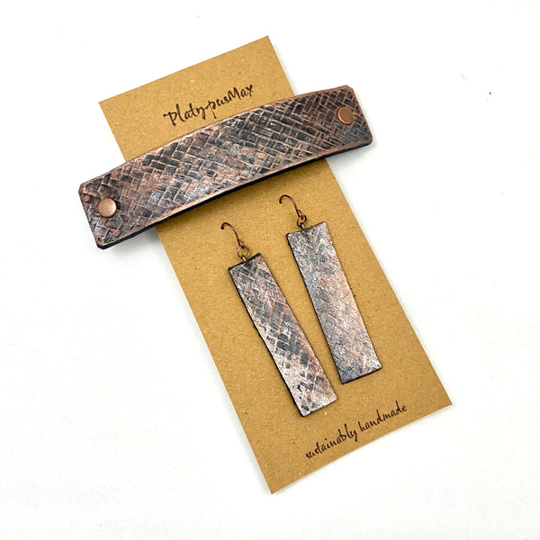 Bronze Weave Textured Barrette and Earring Gift Set - Platypus Max