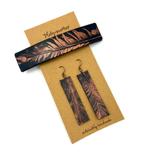 Copper Feather on Black Leather Barrette and Earring Gift Set