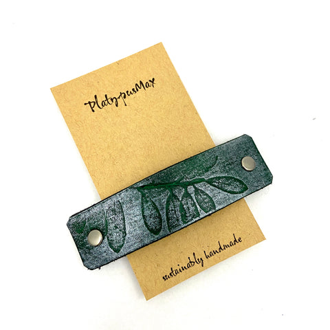 Green & Silver Leaves Leather Hair Barrette - Platypus Max