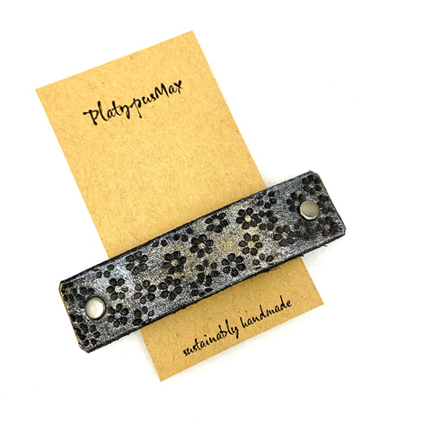 Tiny Platinum & Black Flowers Rustic Stamped Leather Hair Barrette - Platypus Max