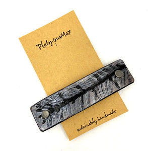 Silver Evergreen / Pine Branch Leather Hair Barrette - Platypus Max