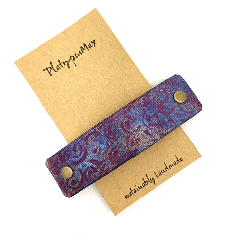 Violet Spirals Leather Hair Barrette - Platypus Max