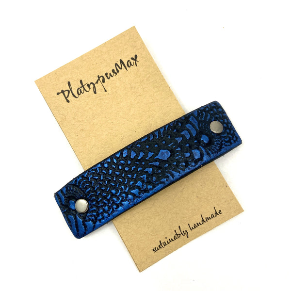 Cobalt Blue & Black Lace Texture Leather Hair Barrette - Platypus Max