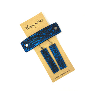 Cobalt Blue & Black Lace Texture Barrette and Earring Gift Set
