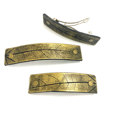 Rustic Gold Leaf Imprint Hair Barrette - Platypus Max