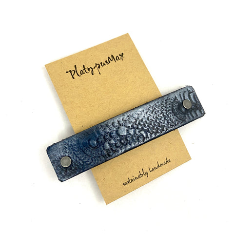 Gunmetal / Dark Silver Vintage Lace Texture Embossed Leather Hair Barrette - Platypus Max