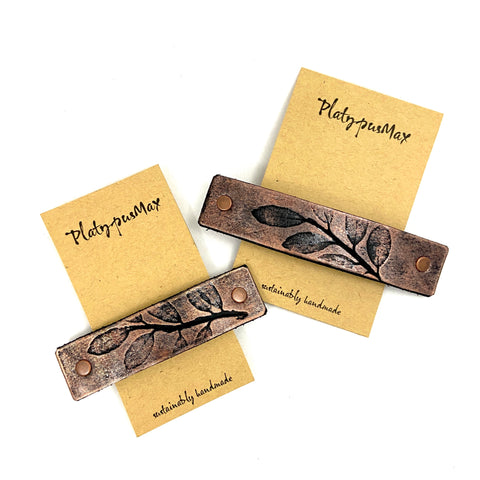 Rustic Copper Leaves Leather Hair Barrette - Platypus Max