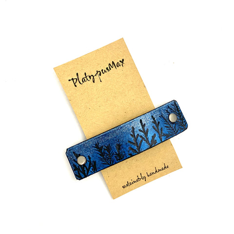 Tiny Forest / Trees Blue & Silver Shimmer Leather Hair Barrette - Platypus Max