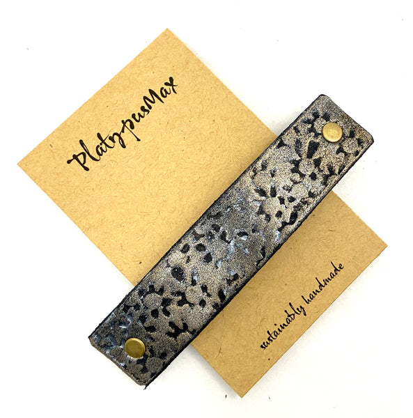 Gold Daisy Prints Rustic Stamped Leather Hair Barrette - Platypus Max