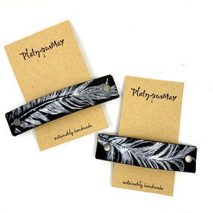 Silver Feather on Black Leather Hair Barrette - Platypus Max