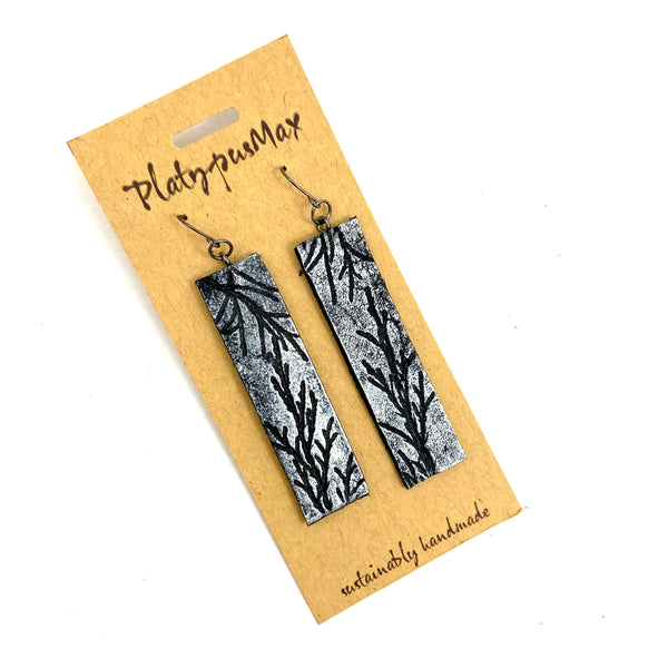 Silver & Black Juniper Branches Leather Bar Earrings - Platypus Max