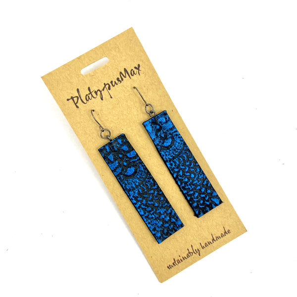 Cobalt Blue & Black Vintage Lace Texture Leather Bar Earrings - Platypus Max