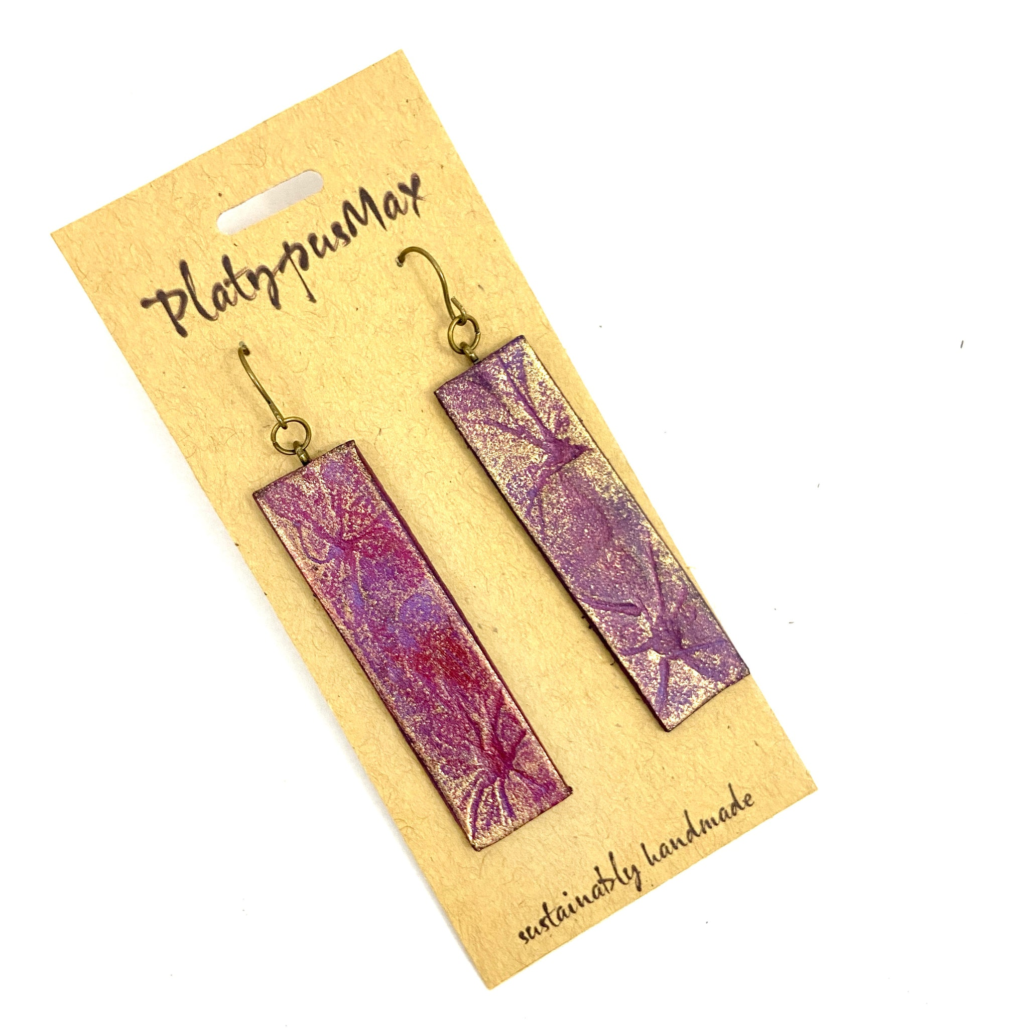 Burgundy & Gold Pressed Flowers Long Bar Earrings - Platypus Max