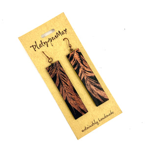 Copper Feather on Black Leather Long Bar Earrings