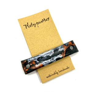 Recycled Bike Tube Barrette with Mixed Metal Gear Prints - Platypus Max